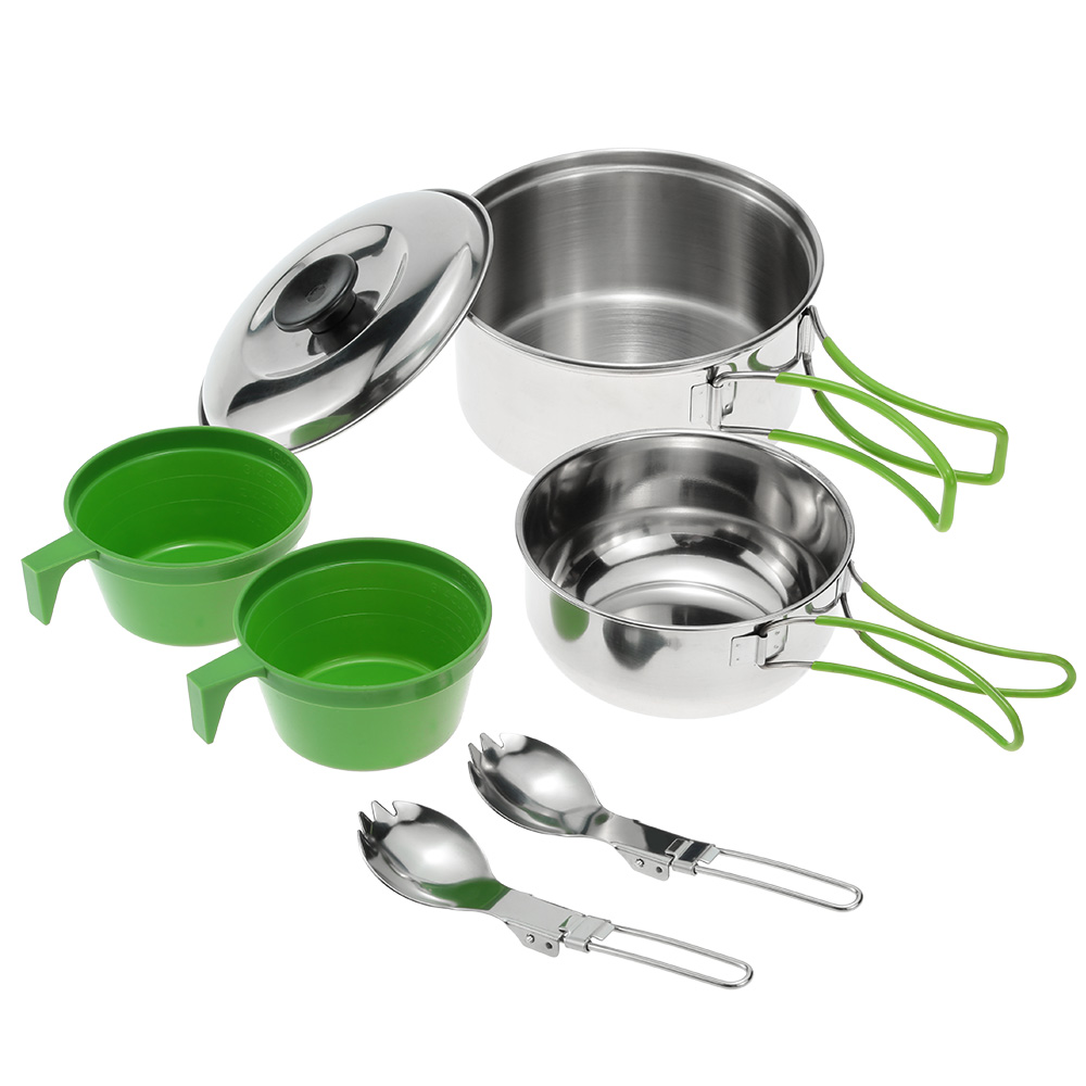 Stainless Steel Cooking Pot Outdoor Camping Cookware Set with Spoons & Cups 3-4 Person Bowl Set Backpacking Bowl Pot Set(China (Mainland))
