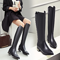 Black Cowhide Pointy Toe Side Zippers Thick Heels Women Fashion Elegant Knee High Boots 2016 Winter