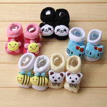 2015 cotton cartoon baby socks for new born children boys and girls kids shoes slippers anti skid Autumn and winter 0-18Month