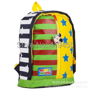 Mickey backpacks mochila Kids stripe star contrast schoolbag child Primary school students nylon shoulder bags 2016 New BP0207(China (Mainland))
