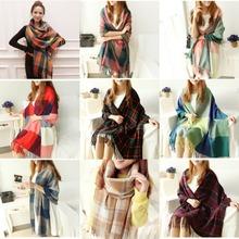 13 Colors Winter Warm Pure Color Plaid Checks Scarf Scarves Tassels Long Shawls Blend Cape Pashmina (China (Mainland))