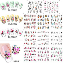11 Design in 1 Beautiful Nail Art Chinese Ink Paintings Nail Decals Water Transfer Stickers Tips Decorations DIY #BLE1808-1818