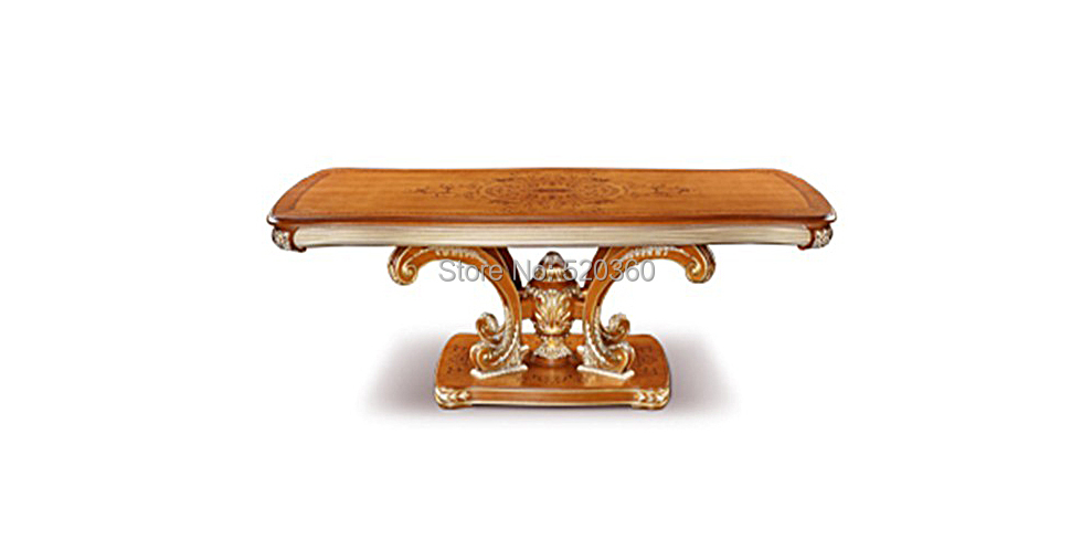 antique light brown French style wood carving Dining table