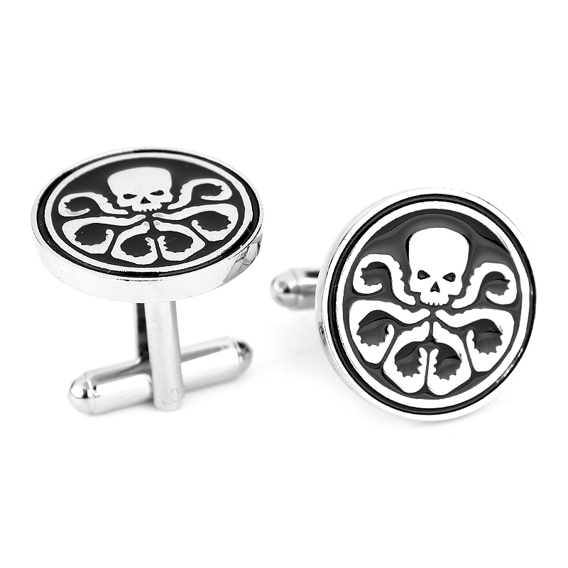 High Quality Superhero Avengers Hydra Skull Cufflinks For Mens Punk Style Brand Cuff Buttons High Quality Cuff Links Jewelry(China (Mainland))