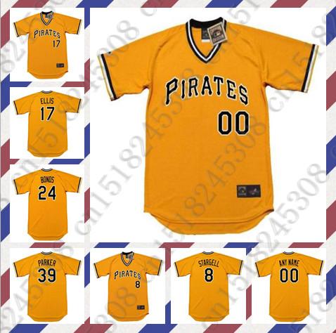 Retro Custom DOCK ELLIS WILLIE STARGELL Baseball jersey DAVE PARKER BARRY BONDS jersey Throwback yellow Mens Stitched jerseys(China (Mainland))