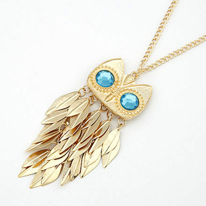 Fantastic New Arrive Hot Fashion Women Gold Leaves Tassel Charm OWL Pendant Necklace Freeshipping&Wholesale Feida(China (Mainland))