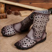 2016 genuine leather handmade female cool boots vintage cutout women boots flat comfortable casual boots women