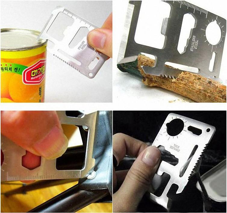 11-1 Multifunction Multi Mini Credit Card Survival Pocket Knife Saw Camping Tool(China (Mainland))