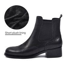 Donna Trong Mùa Thu Đông Giày Chelsea Boot Nữ Da Thật Chính Hãng Da Sang Trọng Ngắn Thấp Med Vuông Mắt Cá Chân Giày Slip On giày Mũi Tròn Giày(China)