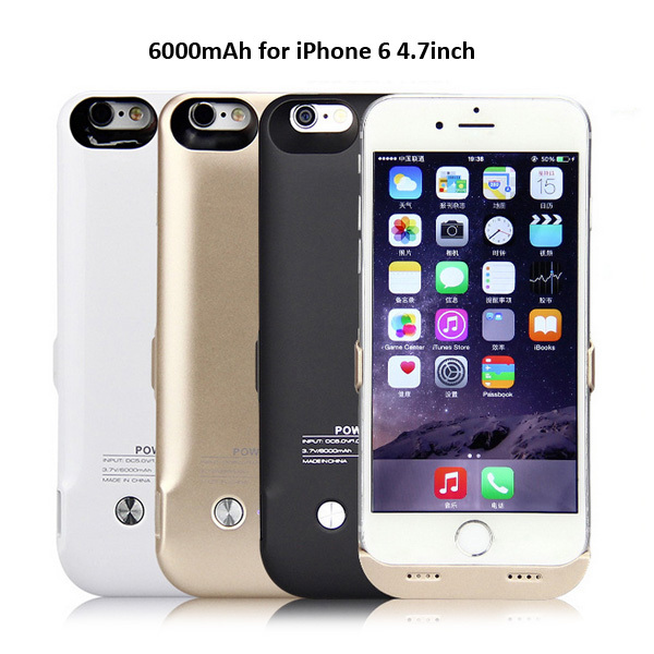 New 6000mAh External Power Case Pack Backup Battery Charge Cover Charging Case for iPhone 6 4.7 inch(China (Mainland))