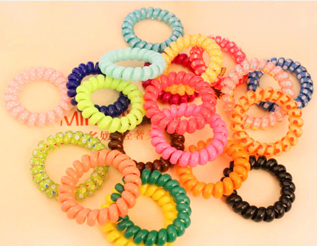 5pcs/lots Women Hair Ring Rope Ponytail Holder Elastic Candy Telephone Line Bands(China (Mainland))