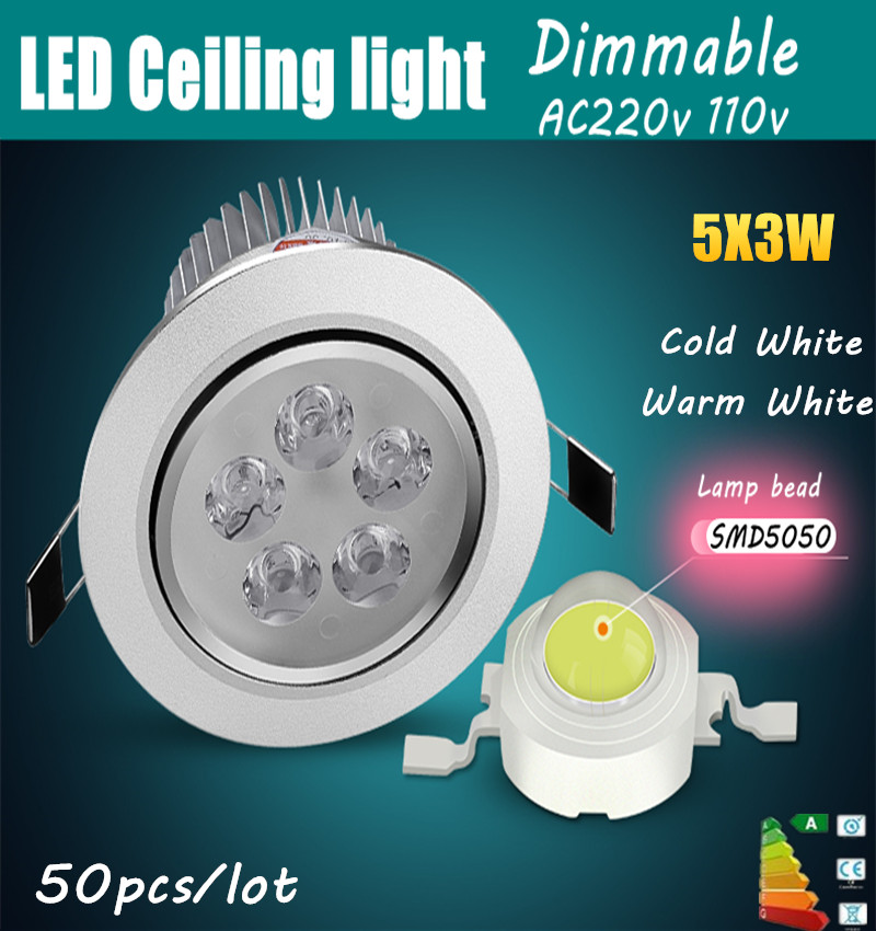 50pcs High Power 9W 15W 21W 27W led Ceiling light Dimmable Epistar Ceiling lamp Recessed led bulb 110V 220V home illumination(China (Mainland))