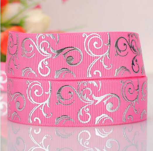 "50 Yards/lot 7/8"" 22-23mm Grosgrain Ribbon Pink With Silver Foil Swirls(China (Mainland))"
