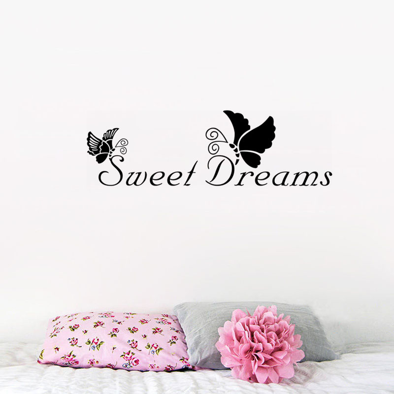 DCTOP Sweet Dreams Beautiful Pattern Design Wall Sticker Butterfly Art Mural Home Accessories Bedroom Wall Decals(China (Mainland))