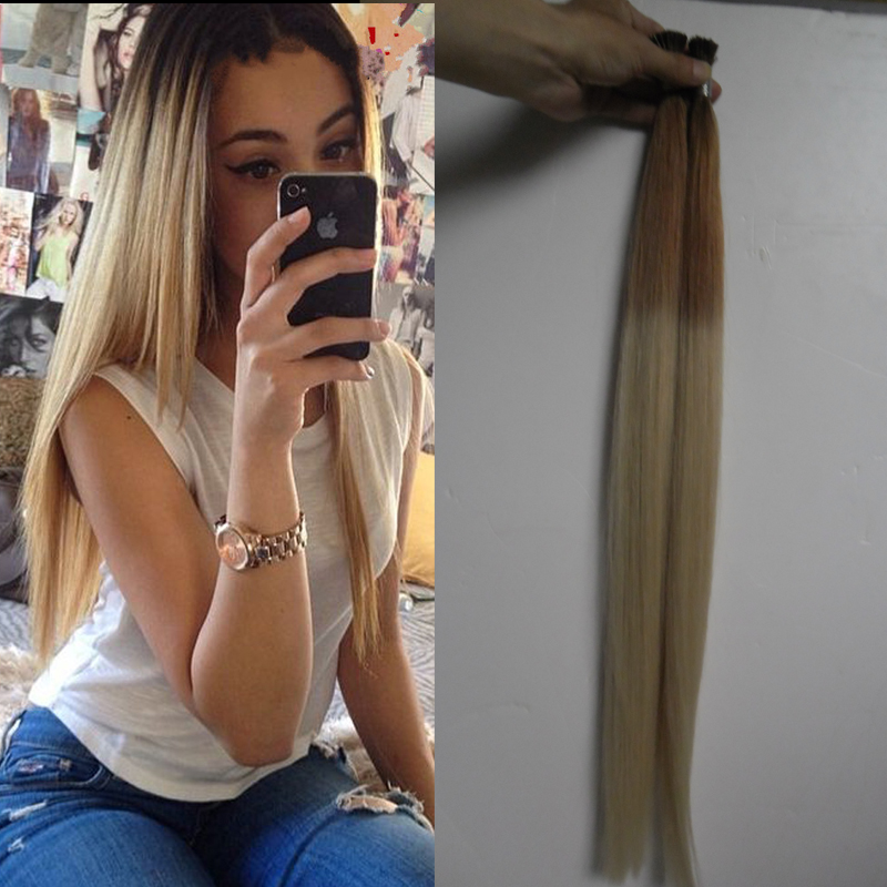 Blonde Brazilian Remy Hair 1g I Tip Hair Extensions 27/613 ombre Nail Tip Fusion Hair Extension Pre bonded Virgin Straight Hair