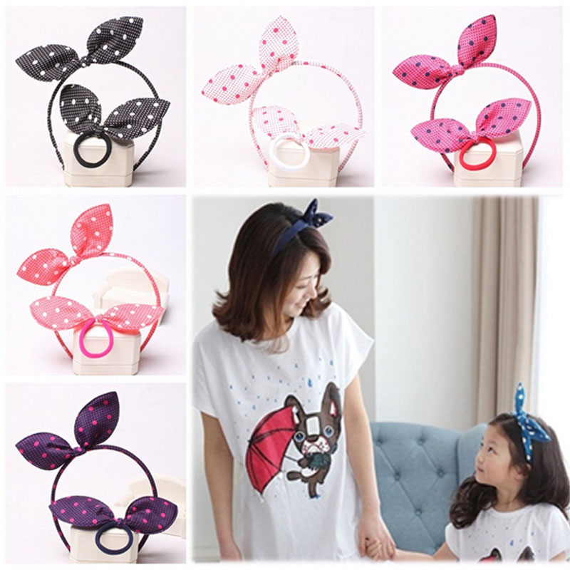 1 Set Fashion Baby Girl Kids Dot Print Bunny Ear Headband With Hair Ropes Toddler Cute Hairband Gifts(China (Mainland))