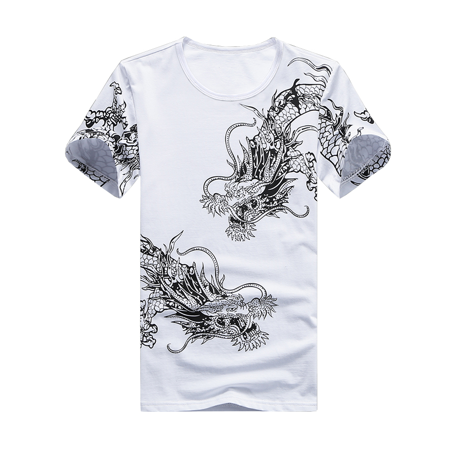 T-Shirt Men Tshirt Homme Mens T Shirts Fashion 2016 Camisetas Hombre Two Chinese Dragon Print Cotton O-Neck Plus Size(China (Mainland))