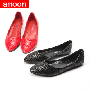 Amoon / Women Girl 2015 New Summer Autumn Rubber Snake Pointed Toe PU Ballet Flat 263#52/ 2 Colors/ 7 Plus 41 Size - ^^ Flats and More store