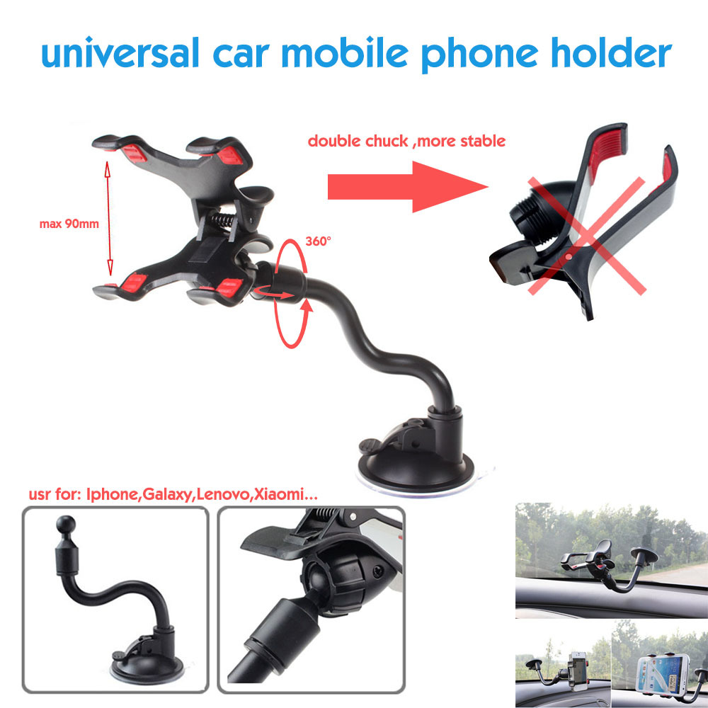 universal car mobile phone holder stand Rotating 360 degree long arm cellphone bracket cell phone mount for gps iphone 4 5 6 mp4(China (Mainland))