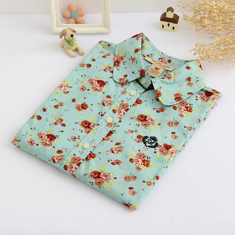 Hot Sale Floral Shirt Women Long Sleeve Shirts Casual Japanese Style Print Comfortable and Soft Cotton Slim Tops Blusas QL1324(China (Mainland))