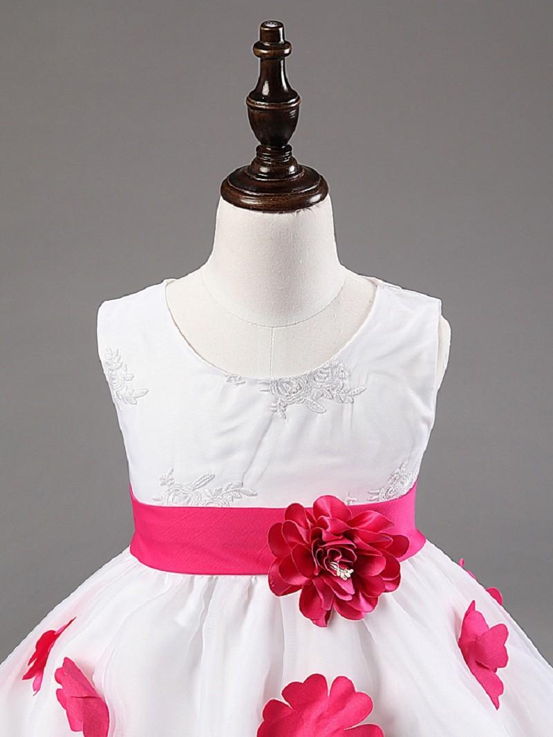 New Elegant Baby Girl Party Dress Sleeveless White Flower