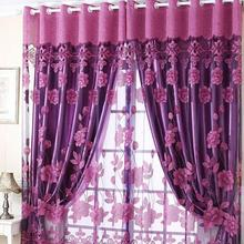 Semi Shade Sheer Rich Flowers Pattern Curtains With Tulle Voile Door Window Curtain Drape Panel New -PJ(China (Mainland))