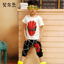 Spiderman Baby Jungen Kind Sportkleidung Trainingsanzug Outfit cartoon Anzug Sommer kinder jungen kleidung(China (Mainland))