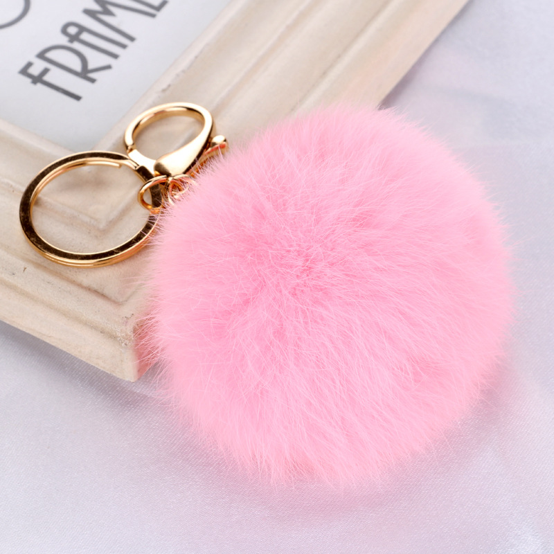 Hot sale Fashion Rabbit Chain / Fur Ball Cell Phone Car Keychain / Handbag Charm Key Chains Ring Pom Poms Hair Bulb + Pendant(China (Mainland))