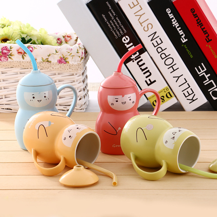 zkka creative cute gourd doll ceramic mug breakfast cups milk coffee tea mugs porcelain cup with lid spoon straw baby child gift(China (Mainland))