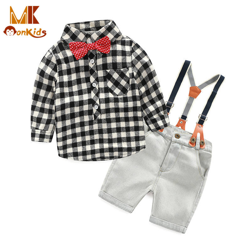 Monkids New 2016 British Style Kids Clothes Children Clothing Boys Clothing Set Plaid Shirt+Suspenders Pants Outfit Stripes Bow(China (Mainland))