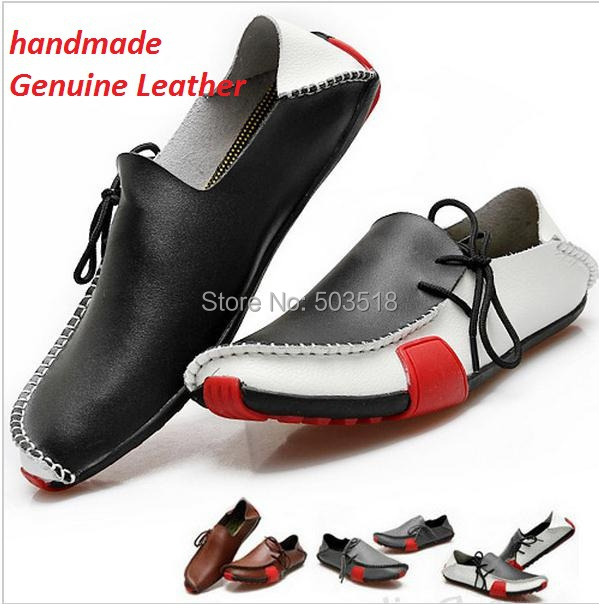 handmade Genuine Leather men shoes driving moccasins Slip Mens Shoes Boat Loafers Sneakers breathable zapatos 38-47 - cool D store