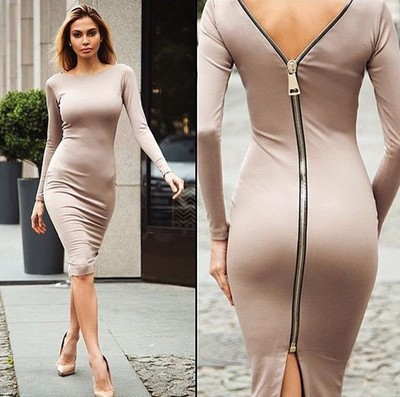 Bodycon Sheath Dress Little Black Long Sleeve Party Dresses font b Clothing b font Back Full