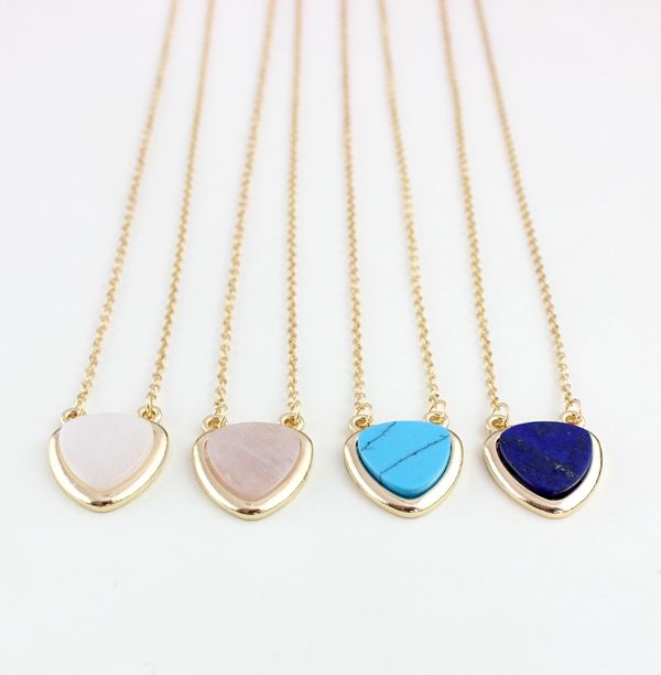 Sweet Gold Plated Chain Small Heart Pendant Necklace Faux Stone Charm Necklace Fashion Costume Jewelry(China (Mainland))
