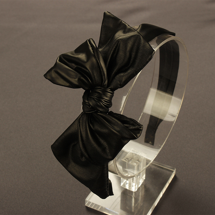 Fine Korean brimmed Black Leather Headband Bow Headband hairpin hair accessories wholesale a variable 4(China (Mainland))