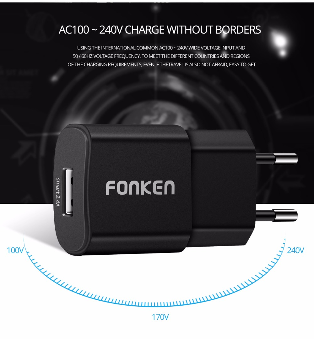 FONKEN USB Charger Max 2.4A Fast Charger Smart IC Universal Portable 5V 2a Wall Charger Charging for Mobile Phone USB Adapter