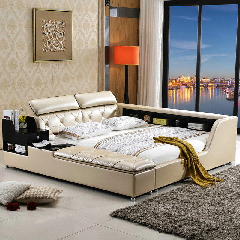 big capacity storage contemporary genuine leather bed modern bedroom furniture made in China(China (Mainland))