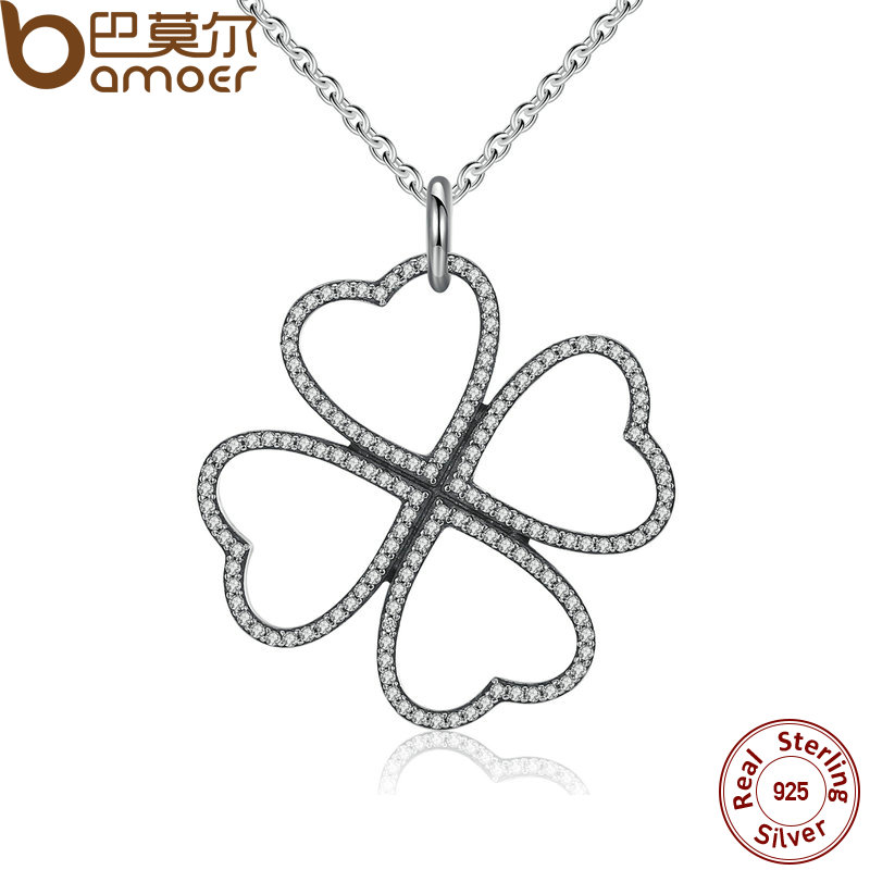 BAMOER 2016 Summer New 925 Sterling Silver Petals of Love, Clear CZ Clover Necklace & Pendant For Women Chain Necklace PSN007(China (Mainland))