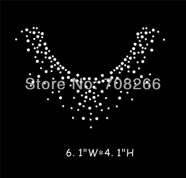 Free shipping 45pcs/lot China factory rhinestone heat transfer Neckline iron on applique(China (Mainland))