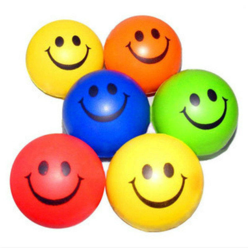 2pcs/set Fast Shipping Good Quality Multicolor 6.3cm Smiley PU Ocean Sponge Ball Solid Foam Grip The Ball Funny Toys Stress Ball(China (Mainland))