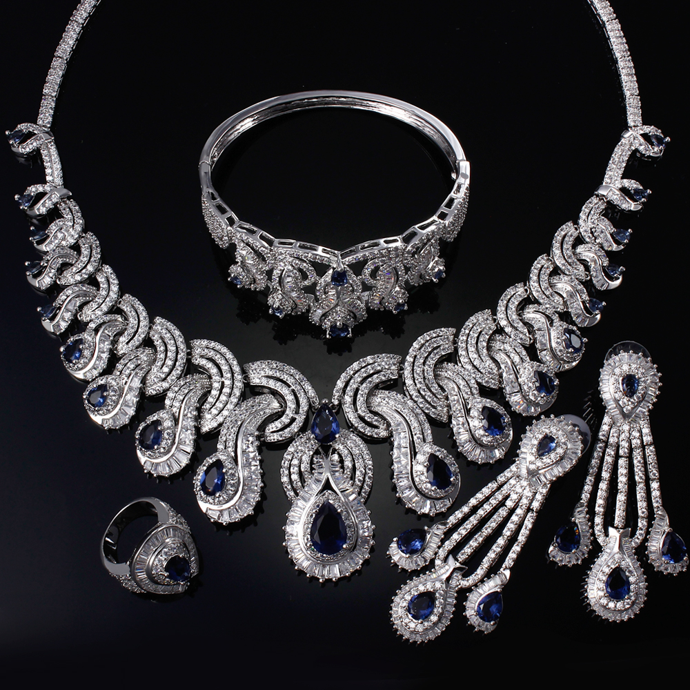 Platinum plated BrIdal Jewelry sets For Wedding With Montana Cubic Zirconia Necklace+Earrings+Ring+Bracelet  Sapphire Jewelry