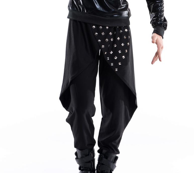 New arrived 2015 nightclub bar stage wear dj rock men's pants male fashion hip-hop personality rivet dovetail harem trousers(China (Mainland))