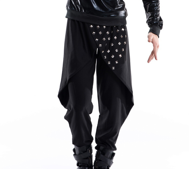 Free shipping mens costume Costumes male fashion mens clothing personality rivet dovetail harem pants  bodysuitОдежда и ак�е��уары<br><br><br>Aliexpress