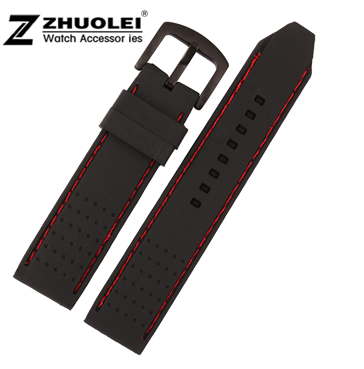 22mm New High Quality Mens Black Soft Waterproof Diving Silicone Rubber Watchband Straps Free Shipping<br><br>Aliexpress