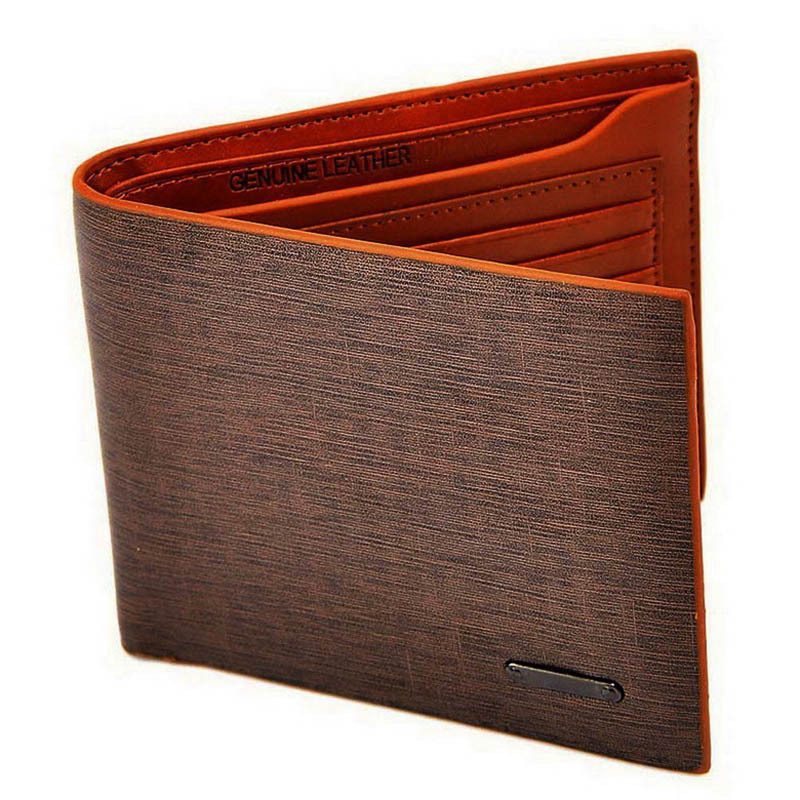 Brown Billfold Coffee Leather Wallet Credit Card Men Purse Clutch Bifold(China (Mainland))