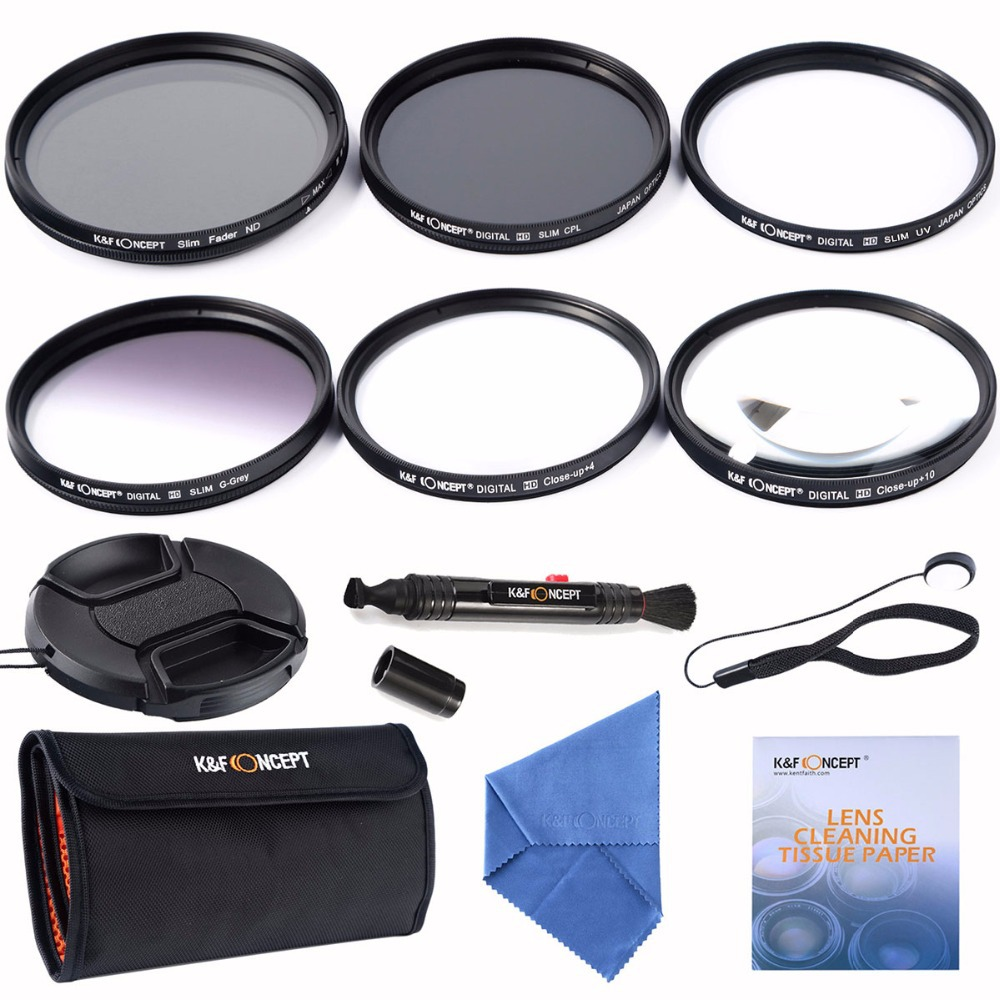 55mm slim UV CPL+ Slim Adjustable ND+Graduated Grey filter+Macro Close Up+4+10 Filter Kits for for Canon Nikon DSLR Camera Lens(China (Mainland))