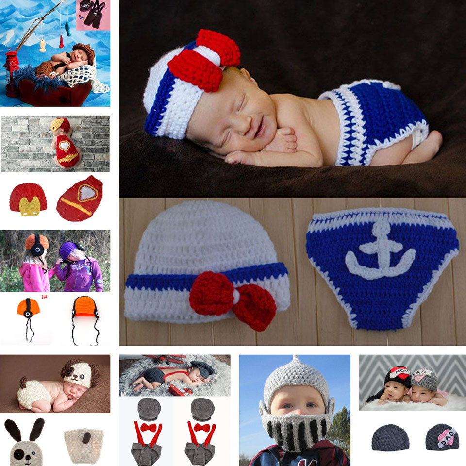 Sailor Design Baby Crochet Hats Photography Props Boy Knitted Infant Newborn Navy Photo Props 1set Free Shipping MZS-15011(China (Mainland))