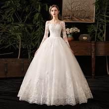 2019 חדש Vintage O צוואר מלא שרוול שמלות כלה אשליה פשוט תחרה רקמה תפור לפי מידה כלה שמלת Vestido דה Noiva L(China)