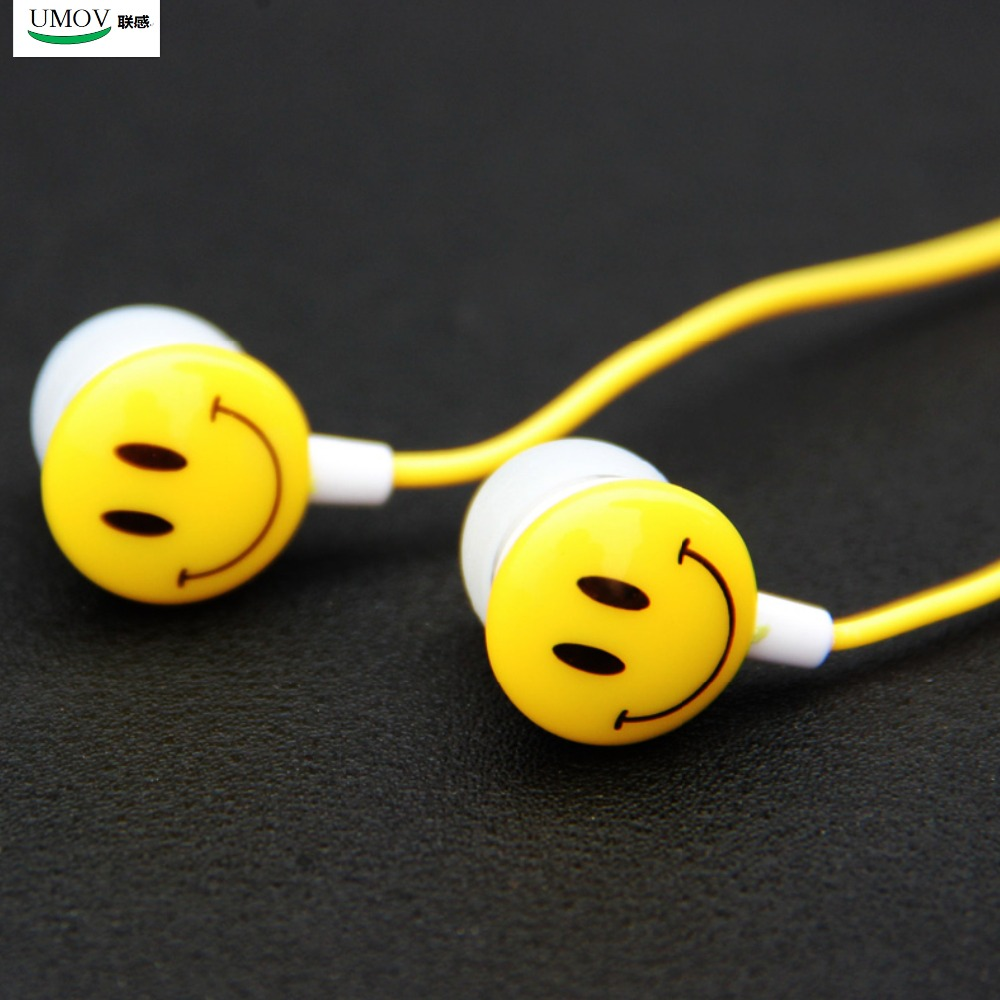New Style Super Bass 3.5mm In Ear Smile Face Earphones for Smart Mobile Phones Music and Sports(China (Mainland))
