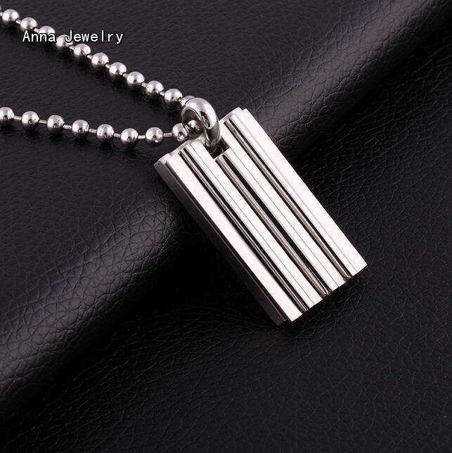 New Fashion Men Style Dog Tag Pendant Necklace,Exquisite Platinum Steel Material with Beads Chain,Handsome Tags Necklace For Men(China (Mainland))