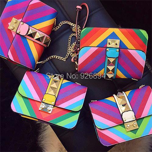 Горячая мода марка цвета радуги хит сладкое цепи заклепки сумка женская сумочка сумка через тела бесплатная доставка
